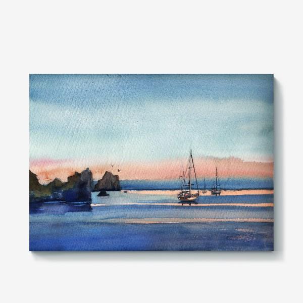Холст «Яхты на закате Море»