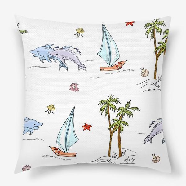 Подушка «дельфины, пальмы, океан»