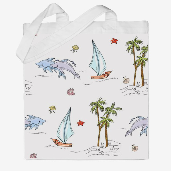 Сумка хб «дельфины, пальмы, океан»