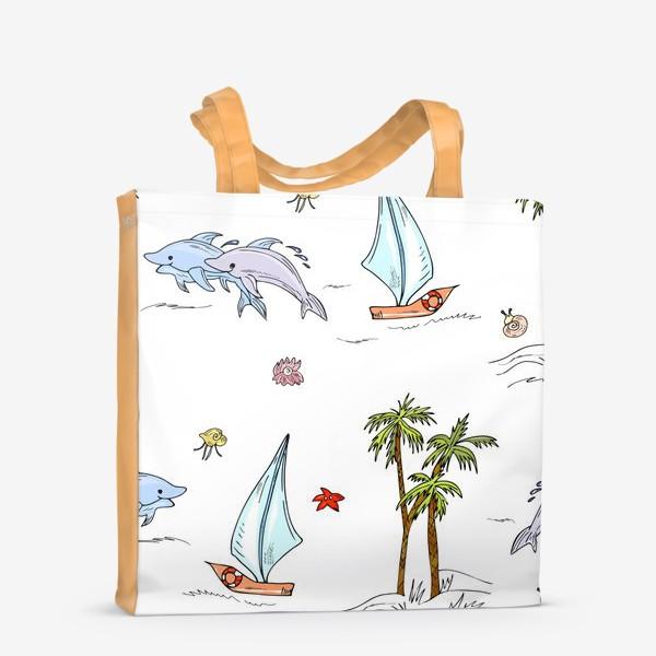 Сумка-шоппер «дельфины, пальмы, океан»