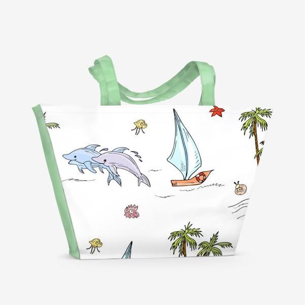Пляжная сумка «дельфины, пальмы, океан»