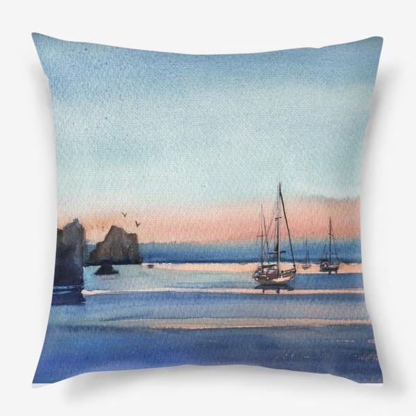 Подушка «Яхты на закате Море»