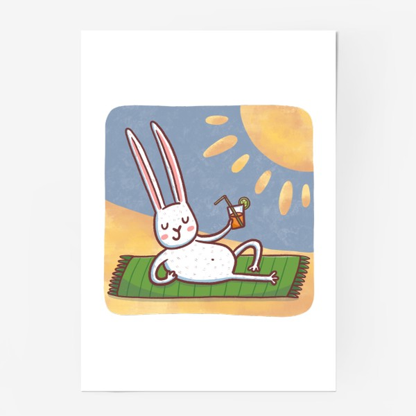 Постер «Зайчик на пляже. Отдых. Пейзаж»