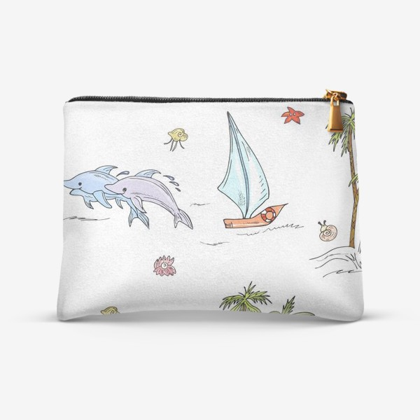 Косметичка «дельфины, пальмы, океан»