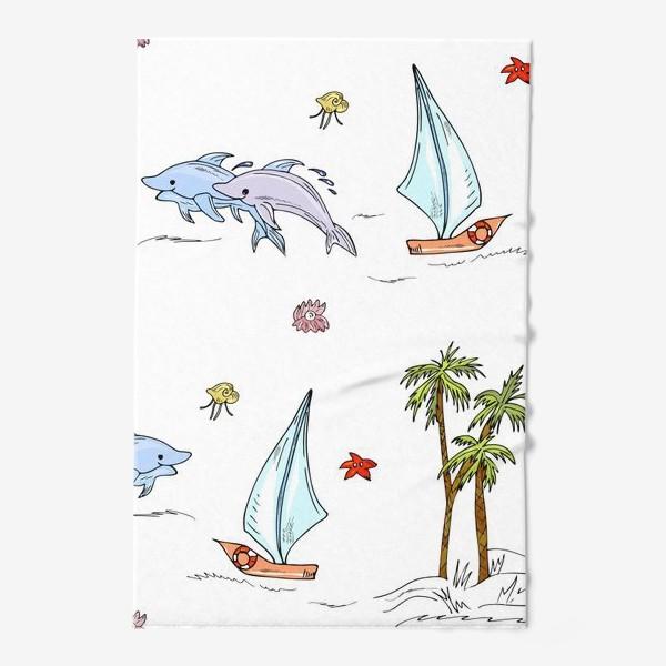 Полотенце «дельфины, пальмы, океан»