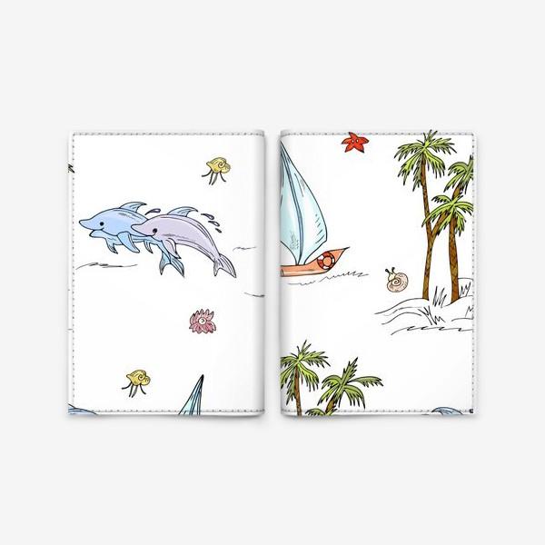 Обложка для паспорта «дельфины, пальмы, океан»