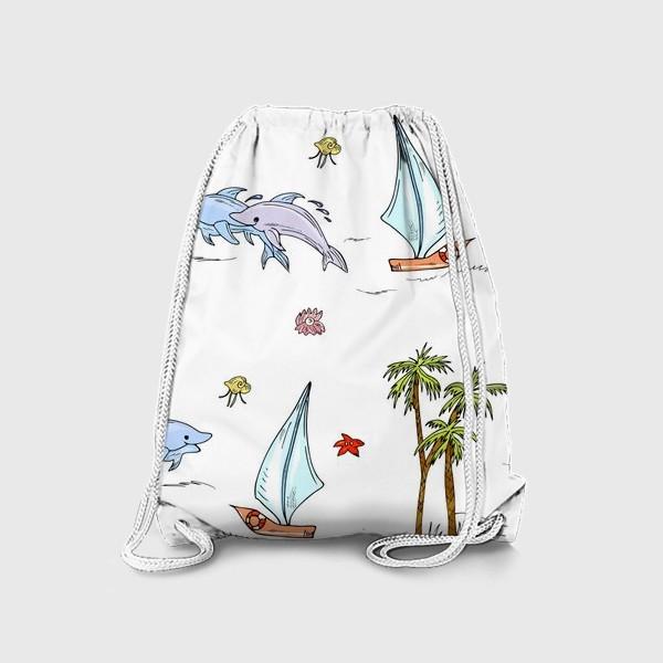 Рюкзак «дельфины, пальмы, океан»