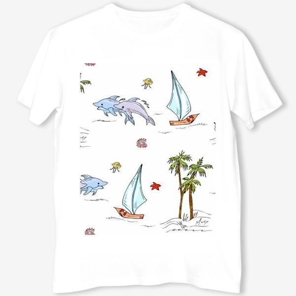 Футболка «дельфины, пальмы, океан»