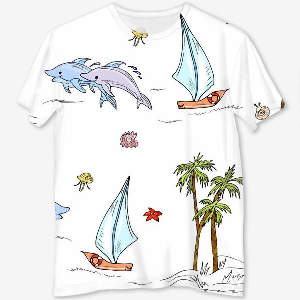 Футболка с полной запечаткой «дельфины, пальмы, океан»