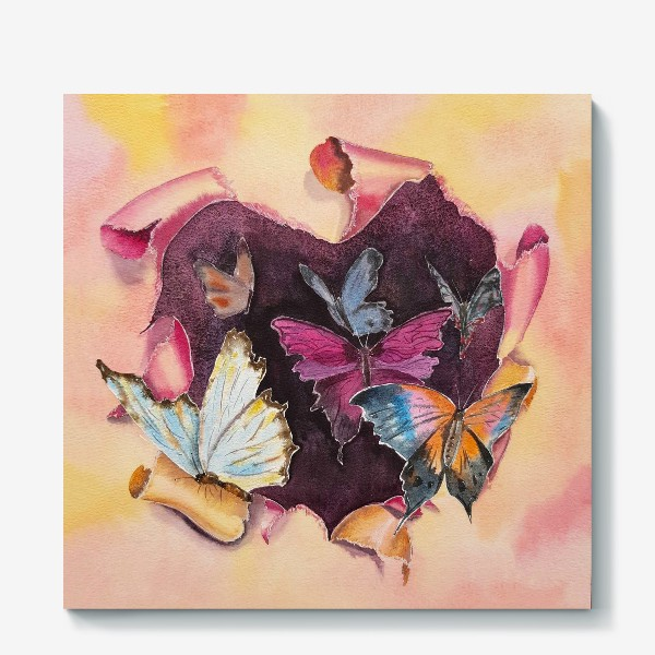 Холст «Бабочки в сердце»
