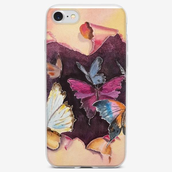Чехол iPhone «Бабочки в сердце»