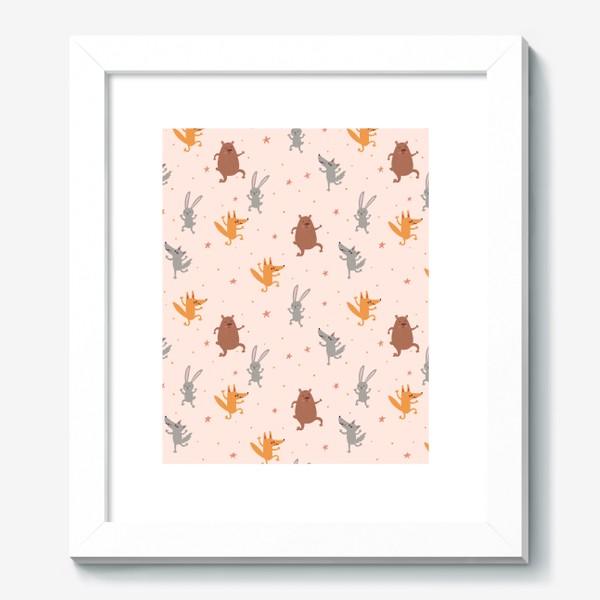 Картина «Нежный паттерн с танцующими зверятами и звездами»