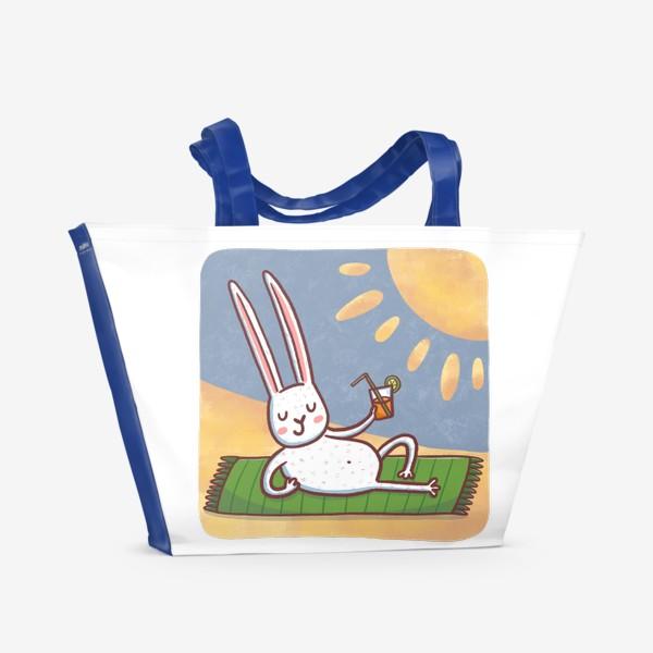 Пляжная сумка «Зайчик на пляже. Отдых. Пейзаж»