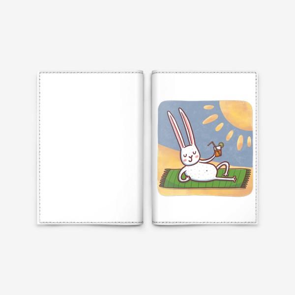 Обложка для паспорта «Зайчик на пляже. Отдых. Пейзаж»