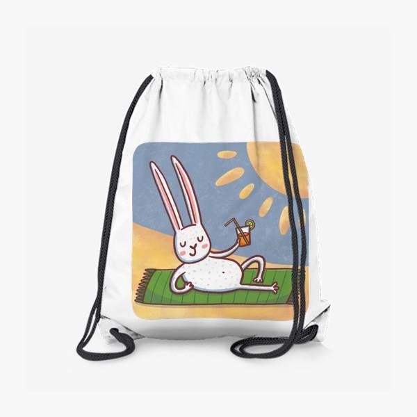 Рюкзак «Зайчик на пляже. Отдых. Пейзаж»