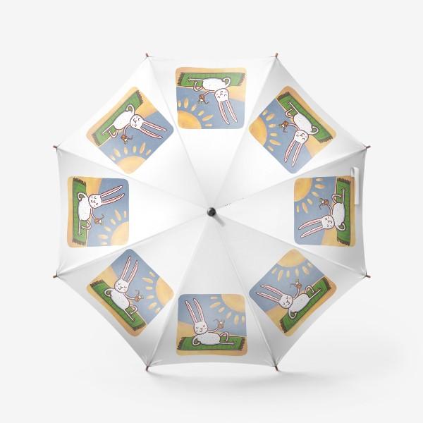 Зонт «Зайчик на пляже. Отдых. Пейзаж»