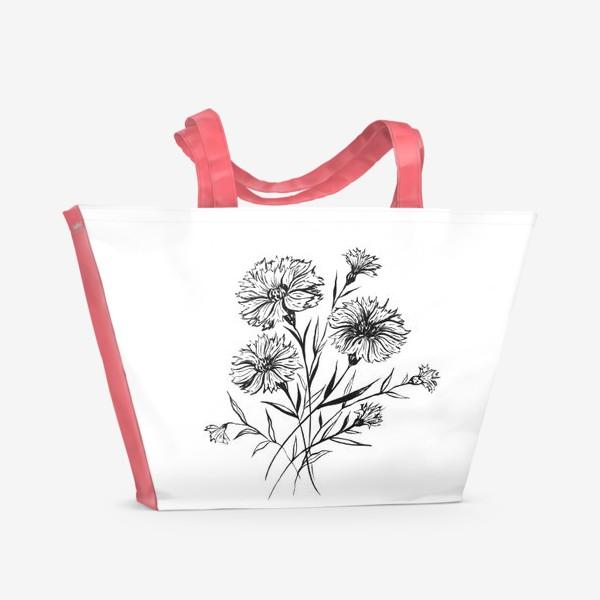 Пляжная сумка «Васильки черно-белые. Тушь»