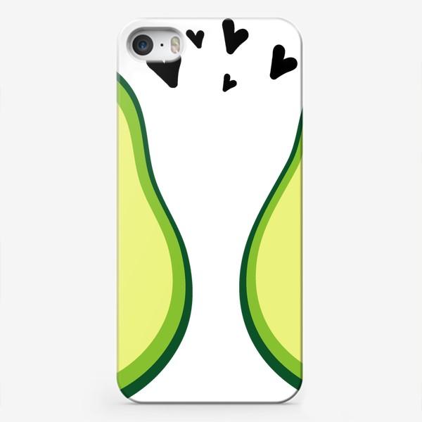 Чехол iPhone «Милая пара, авокадо эмодзи (смайлики) и сердечки, поцелуй и смущение»