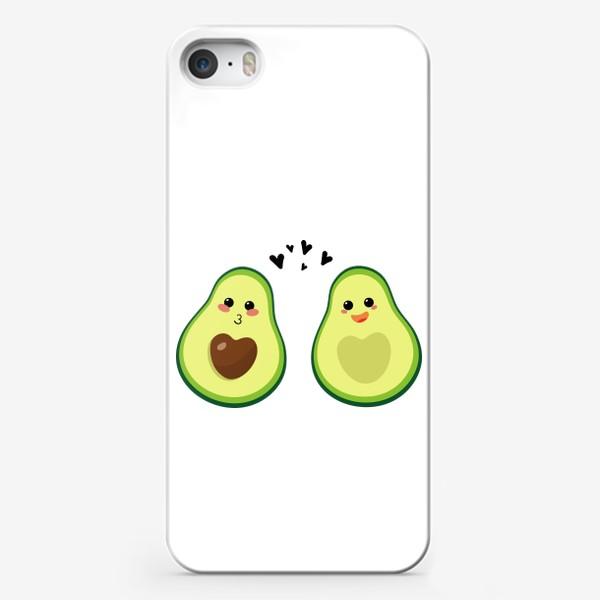 Чехол iPhone «Милая пара, авокадо эмодзи (смайлики) и сердечки, поцелуй и радость»