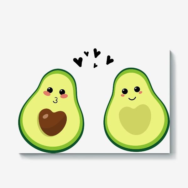 Холст «Милая пара, авокадо эмодзи (смайлики) и сердечки, поцелуй и улыбка»
