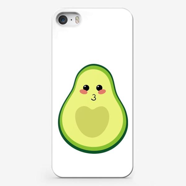 Чехол iPhone «милый авокадо, смайлик, эмодзи, сердечко и поцелуй»