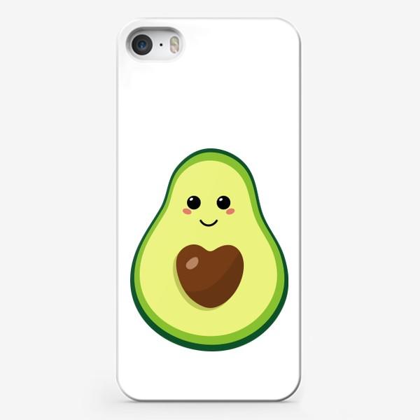 Чехол iPhone «милый авокадо, смайлик, эмодзи, сердечко и улыбка»