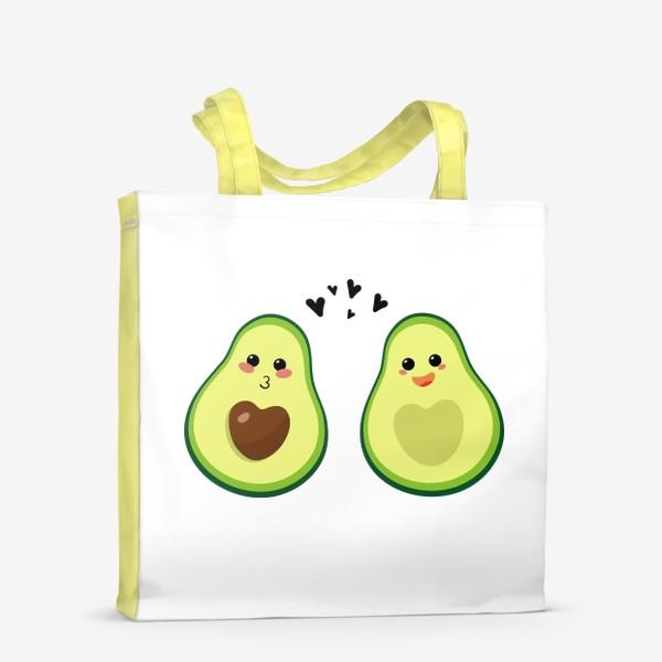 Сумка-шоппер «Милая пара, авокадо эмодзи (смайлики) и сердечки, поцелуй и радость»