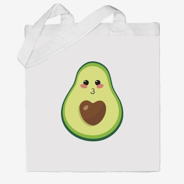 Сумка хб «милый авокадо, смайлик, эмодзи, сердечко и поцелуй»