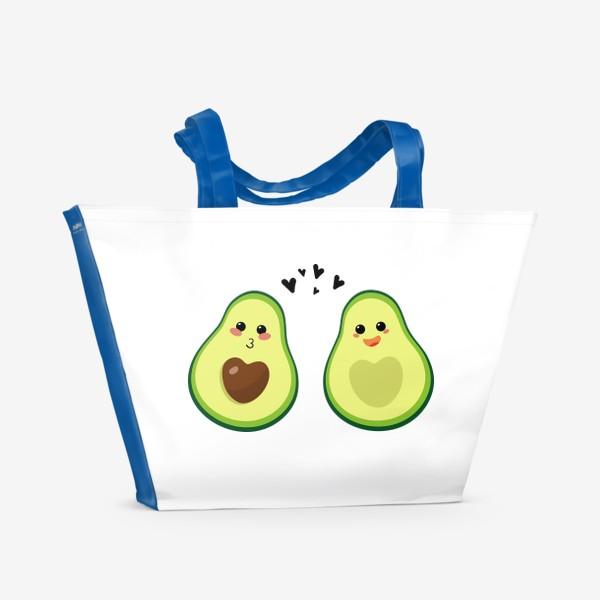Пляжная сумка «Милая пара, авокадо эмодзи (смайлики) и сердечки, поцелуй и радость»
