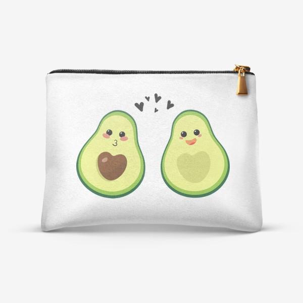 Косметичка «Милая пара, авокадо эмодзи (смайлики) и сердечки, поцелуй и радость»