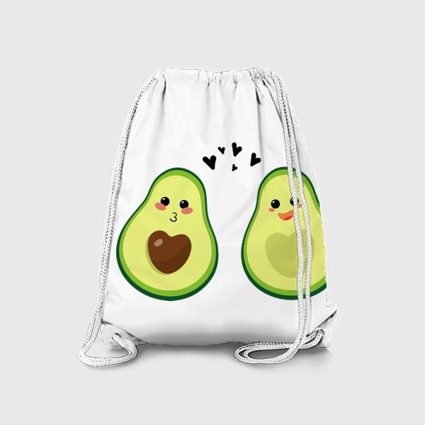 Рюкзак «Милая пара, авокадо эмодзи (смайлики) и сердечки, поцелуй и радость»