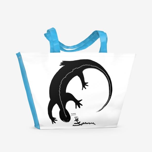 Пляжная сумка «Ящерка и цветочек. Радуются друг другу »
