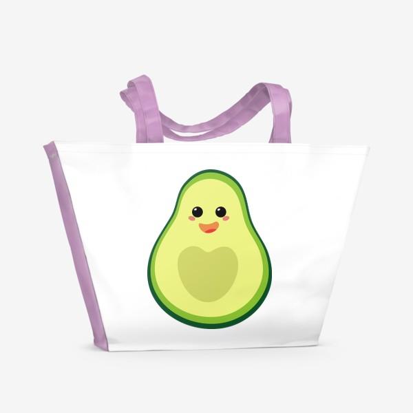 Пляжная сумка «милый авокадо, смайлик, эмодзи, сердечко и радость»