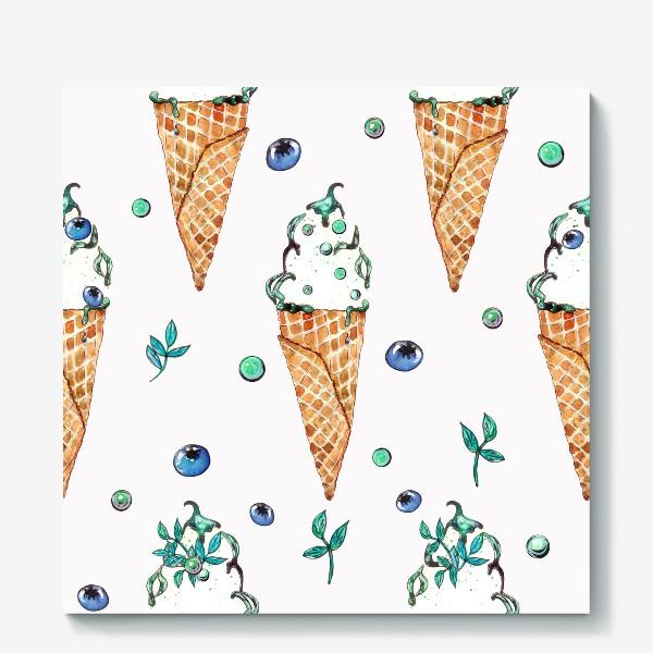 Холст «Узор из мороженого и голубики»