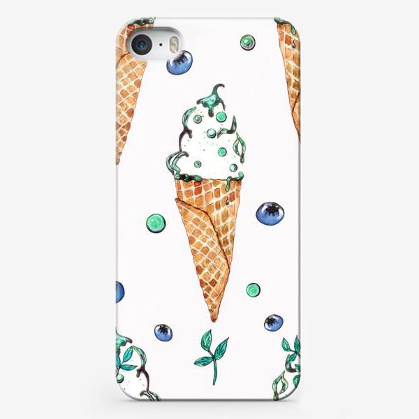 Чехол iPhone «Узор из мороженого и голубики»