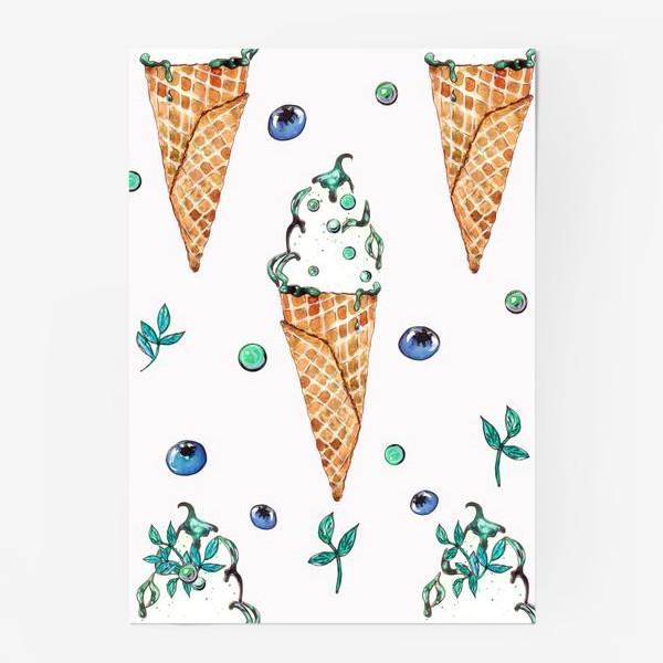 Постер «Узор из мороженого и голубики»