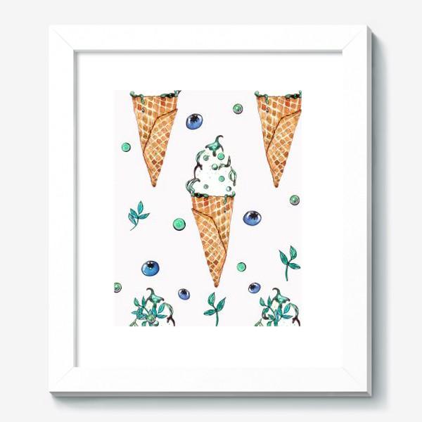Картина «Узор из мороженого и голубики»