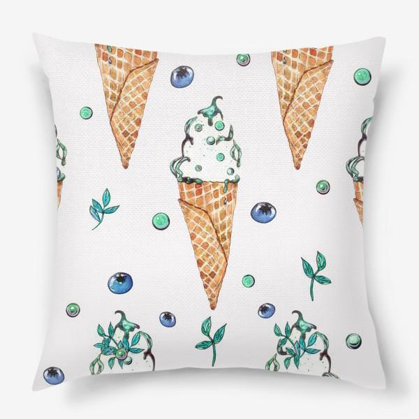 Подушка «Узор из мороженого и голубики»