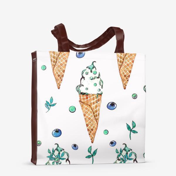 Сумка-шоппер «Узор из мороженого и голубики»
