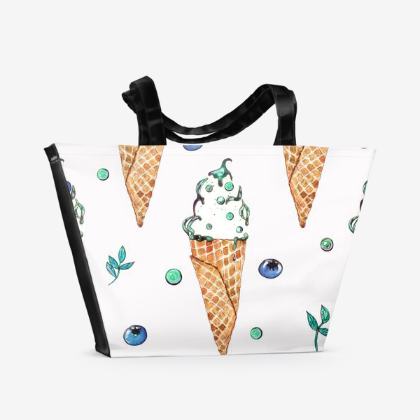 Пляжная сумка «Узор из мороженого и голубики»