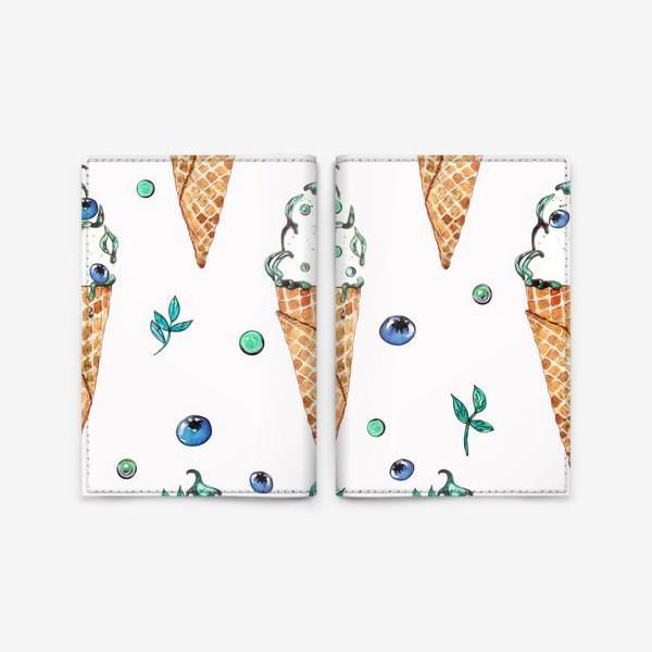 Обложка для паспорта «Узор из мороженого и голубики»