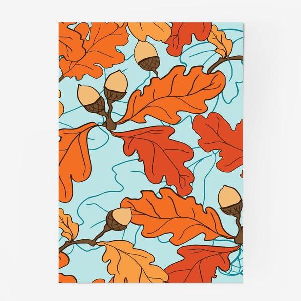 Постер «Осенний паттерн с желудями и дубовыми листьями»