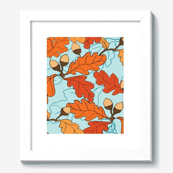 Картина «Осенний паттерн с желудями и дубовыми листьями»