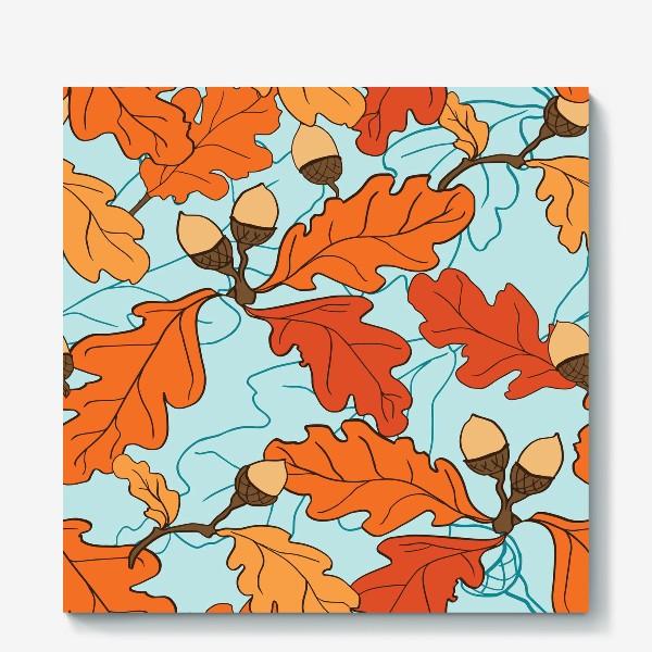 Холст «Осенний паттерн с желудями и дубовыми листьями»