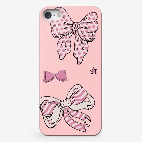 Чехол iPhone «Фон с розовыми бантами и звездочками»