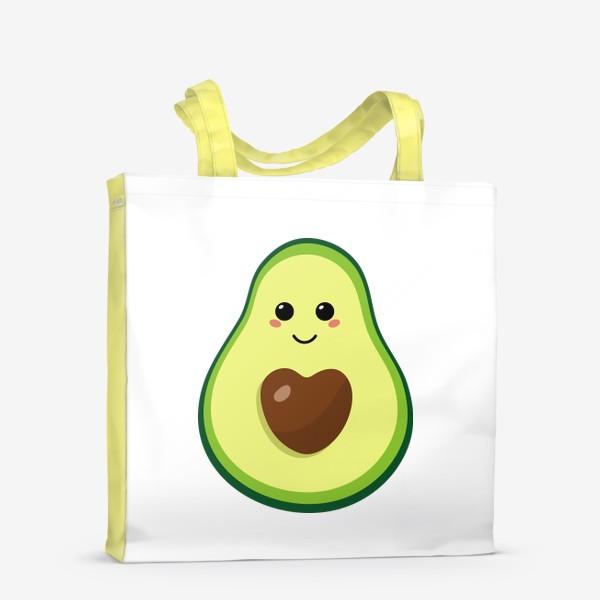Сумка-шоппер «милый авокадо, смайлик, эмодзи, сердечко и улыбка»