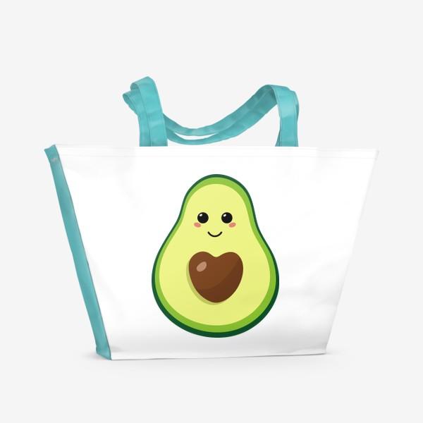 Пляжная сумка «милый авокадо, смайлик, эмодзи, сердечко и улыбка»