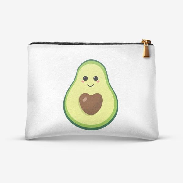 Косметичка «милый авокадо, смайлик, эмодзи, сердечко и улыбка»