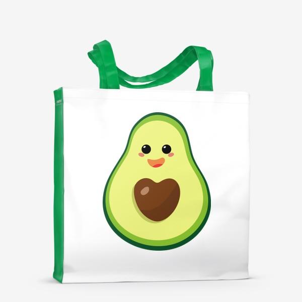 Сумка-шоппер «милый авокадо, смайлик, эмодзи, сердечко и радость»