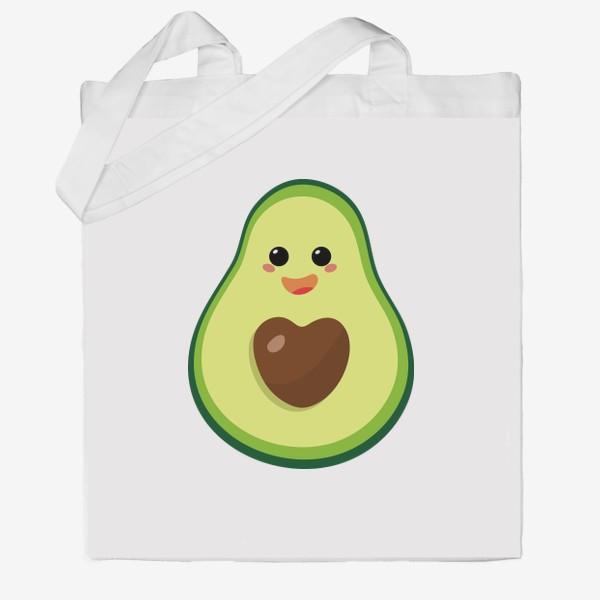 Сумка хб «милый авокадо, смайлик, эмодзи, сердечко и радость»